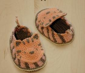 Tiger Baby Booties Crochet PATTERN, SYMBOL DIAGRAM (pdf)
